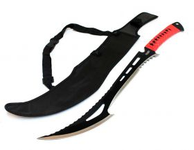 "24"" Full Tang Hunting Sword With Red Handle & Sheath"