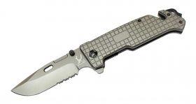 "9"" The Bone Edge Grey Folding Knife with Belt Clip"