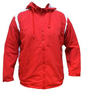 Micro Fabric Warm up Sports Full Zip with Hood Track Top Upper Red