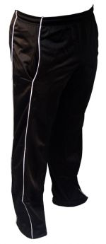 Tricot Plain Sports Warm Up Piping Style Jog Track Trouser Black