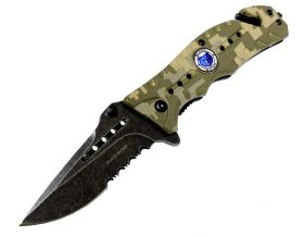 "8"" Black Water Collection Camoflauge Folding Spring Assisted Knife with Belt Clip"