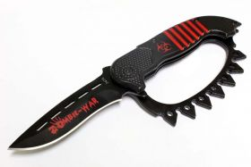 """8.5"""" Zombie War Red & Black Spring Assisted Knife with Belt Clip"""