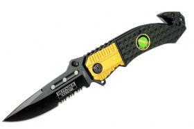 "8"" Defender Xtreme Black and Gold Spring Assisted Knife with Belt Clip"