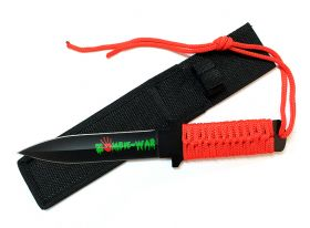 "11"" Zombie War Red Cord Wrapped Handle Hunting Knife with Sheath"