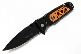 "8"" Seals Force Orange Spring Assisted Knife with Clip"