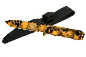 "9"" Defender-Xtreme Orange Skull Design Tactical Hunting Outdoor Knife with Sheath"