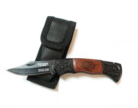 "5.25"" Mini Tactical Team Wood & Black Handle Design Folding Knife with Pouch"