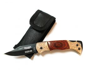 "5.25"" Mini Tactical Team Wood & Bronze Handle Design Folding Knife with Pouch"
