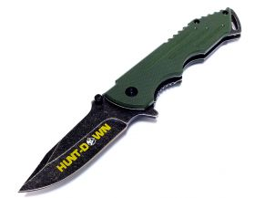 "7.5"" Hunt-Down Green Folding Spring Assisted Knife with Belt Clip"