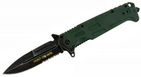 "9"" Hunt-Down Spring Assisted Green Handle with Clip"