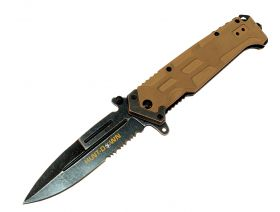 "9"" Huntdown Spring Assisted  Blade Beige Handle with Clip & Belt Cutter"