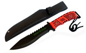 "13"" Zombie Killer Hunting Knife Full Tang Red & Black Handle with Sheath"