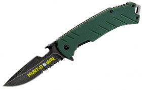 """8"""" Hunt-Down Green Folding Spring Assisted Knife with Bottle Opener"""