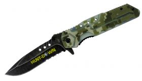 """8.5"""" Hunt-Down Camouflage Folding Spring Assisted Knife with Belt Clip"""