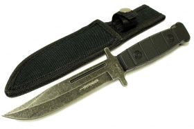 "9"" Defender Stainless Steel Hunting Knife with Stone Washed Blade"