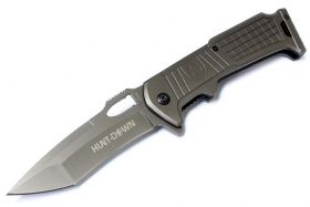"8 1/2"" Hunt Down Grey Folding Spring Assisted Knife with Belt Clip"