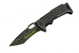 "8.5"" Zomb-War Spring Assisted Stone Wash Blade with Clip"