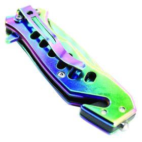 """6.5"""" Defender Xtreme Multi Color Folding Spring Assisted Knife"""