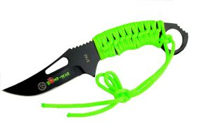 "8.25"" Zomb-War Hunting Knife Full Tang with Green Nylon Wrapped Handle"