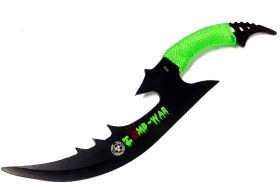 "15.5"" Full Tang Zomb-War Hunting Sword With Green Nylon Handle & Sheath"
