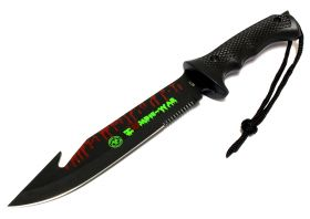"13"" Zombie-War Stainless Steel Hunting Knife with Fish Hook Blade All Black"