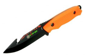 "8"" Zomb-War Gut Hook Hunting Knife with Sheath Orange"