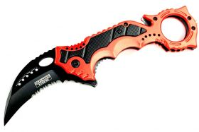 "8"" Defender Xtreme Red Spring Assisted Knife w/ Belt Clip"