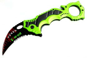 "8"" Zomb-War Green Spring Assisted Knife w/ Belt Clip"