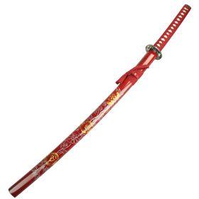 "40.5"" Red Collectible Katana Samurai Sword With Flower Design"