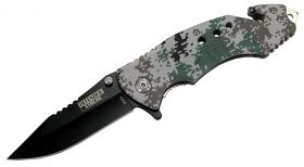 "8"" Digital Woodland Camo Folding Knife with and Belt Cutter"