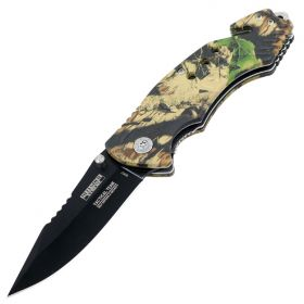 "8"" Woodland Camo Folding Knife with and Belt Cutter"
