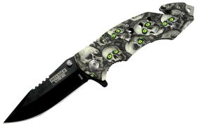 "8"" Skull Handle Folding Knife and Belt Cutter"