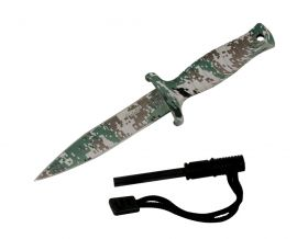 "7"" Defender Xtreme Woodland Camo Mini Hunting Knife Stainless Steel Blade with Fire Starter"