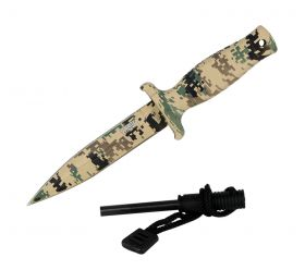 "7"" Defender Xtreme Desert Camo Mini Hunting Knife Stainless Steel Blade with Fire Starter"