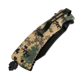 "Defender-Xtreme 9"" Spring Assisted Knife with Fire Starter Digital Camo"