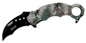 "7.5"" Spring Assisted Digital Woodland Camo Handle Skinner Knife"