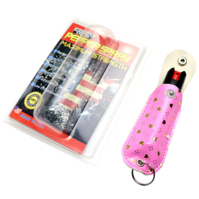 Defender-Xtreme 1/2 Oz Pepper Spray With Pink Heart Sheath & Key Chain