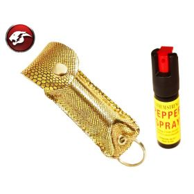 Defender Cheetah Pepper Spray Gold SnakePattern Faux Leather Pouch For Self Defence