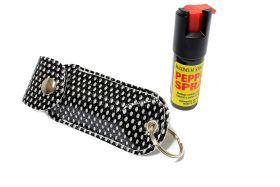 Defender Cheetah Pepper Spray 1/2 Oz For Self Defense With Black Case Key Chain