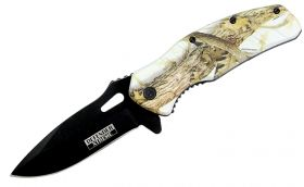 "8"" Defender Xtreme Snow Woodland Camo Spring Assisted Knife"