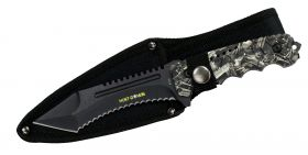 "9.5"" Hunt-Down Serrated Full-Tang Blade Hunting Knife with Black Machine gun Handle"