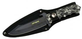 "9.5"" Hunt-Down Full-Tang Blade Hunting Knife with Black Machine gun Handle"