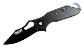 "6.5"" Defender Xtreme Spring Assisted Knife Black Mathe-Like Color with Key Chain Clip"