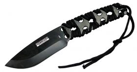 "10"" Defender-Xtreme Black Full Tang Survival Outdoor Knife with Nylon Sheath"