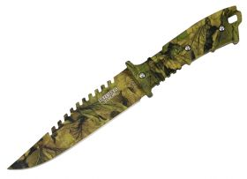 "11"" Defender Xtreme Full Tang Hunting Knife Woodland Brown Camo"