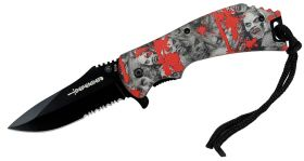 "8"" Spring Assisted Skull Red Handle Knife"