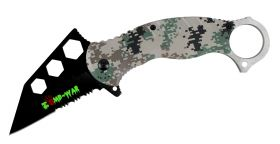 "7.5"" Zomb War Spring Assisted Tanto Bladed Knife with Digital Woodland Camo design"