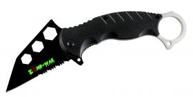 "7.5"" Zomb War Spring Assisted Tanto Bladed Knife Black Handle design Fore Finger Grip"