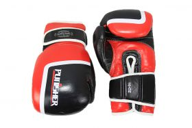 16oz Last Punch Black and Red Punisher Boxing Gloves