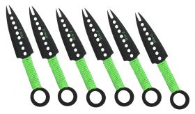"7"" Zomb-War Green Threaded Handle Throwing Knives (Set of Six)"